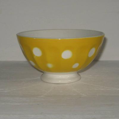 Ancien petit bol à côtes sur pied douche Digoin Sarreguemines jaune à pois blancs