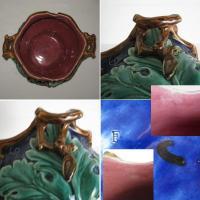 Ancien cache pot en barbotine decor pampres de vigne 3