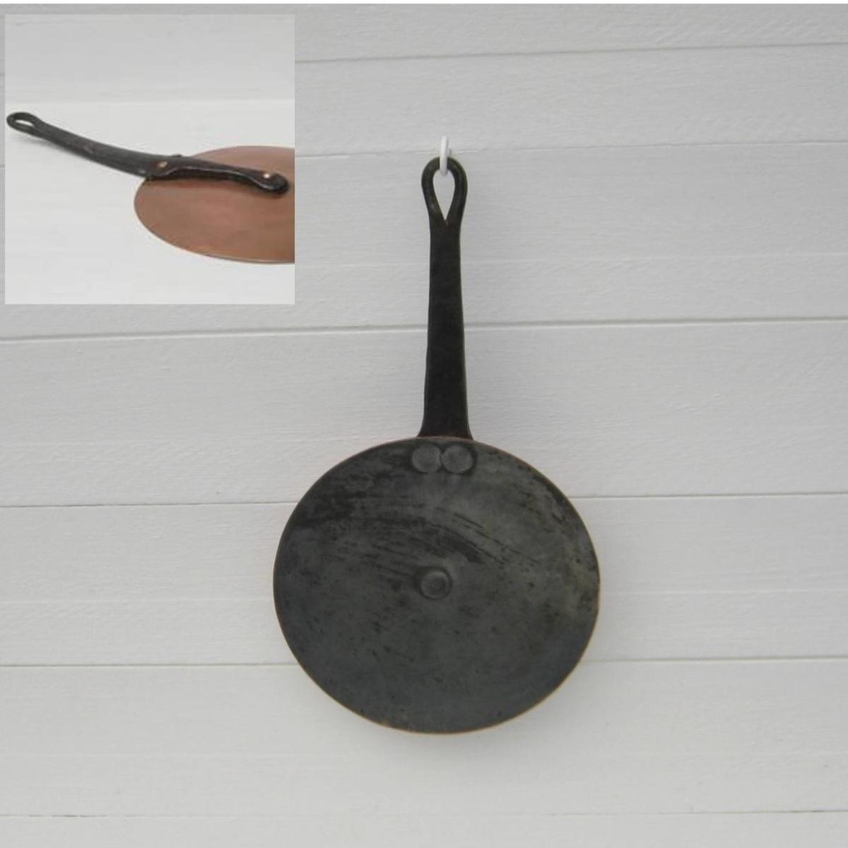 Ancien couvercle cuivre et fer forge diametre 18 5cm 1
