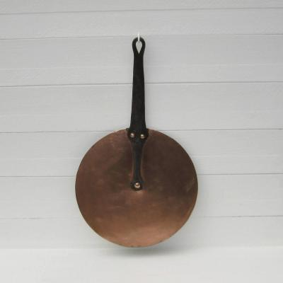 Ancien couvercle en cuivre manche en fer forgé Ø 26cm