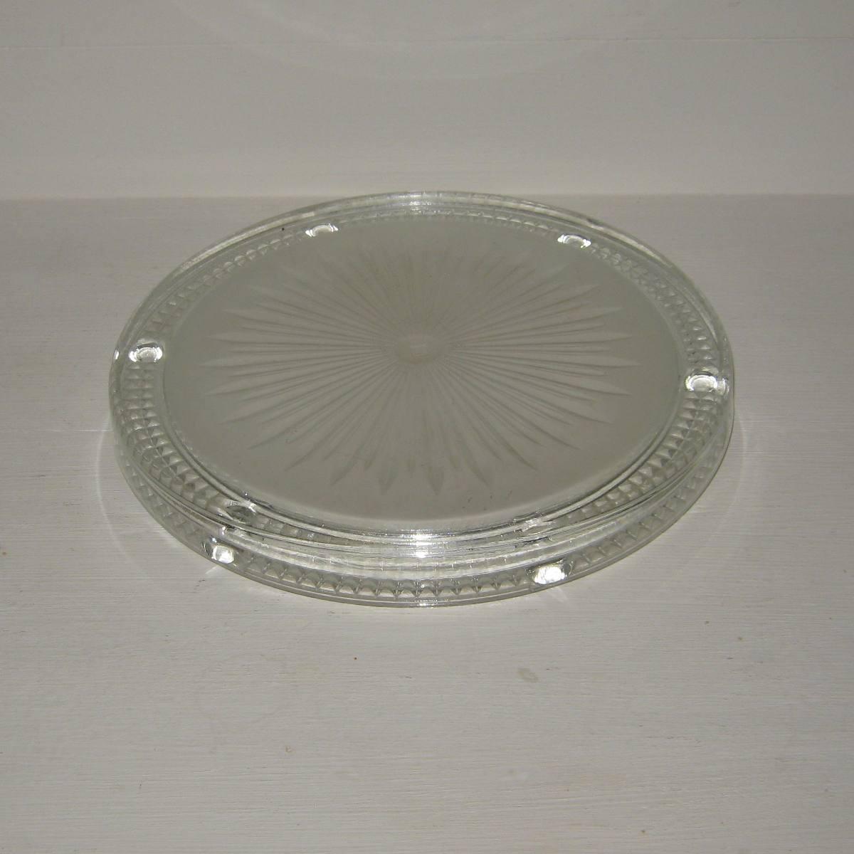 Ancien dessous de plat art deco en verre moule presse verlys 1