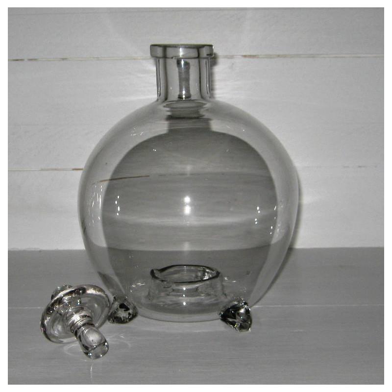 Ancien gobe mouches complet en verre souffle 3