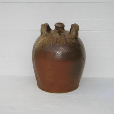 Bonbonne à goulot verseur bouteille à eau de vie ancienne en grès de Puisaye