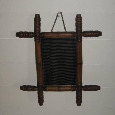 Ancien miroir en bois 1900 façon bambou