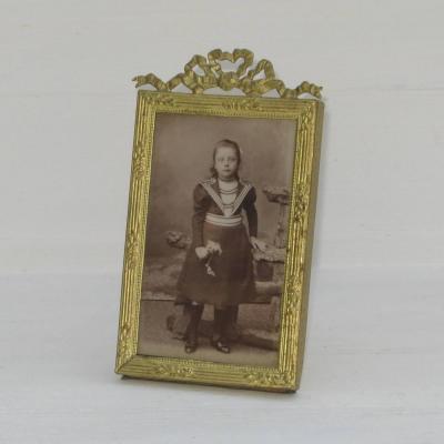Cadre à photo ancien bronze doré noeud Louis XVI