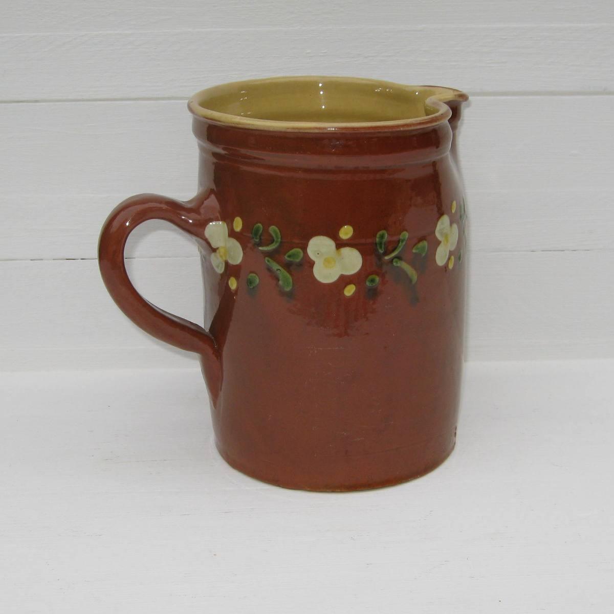 Ancien pichet en terre cuite vernissee poterie de savoie 1