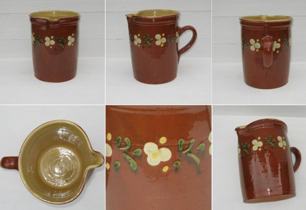 Ancien pichet en terre cuite vernissee poterie de savoie 2