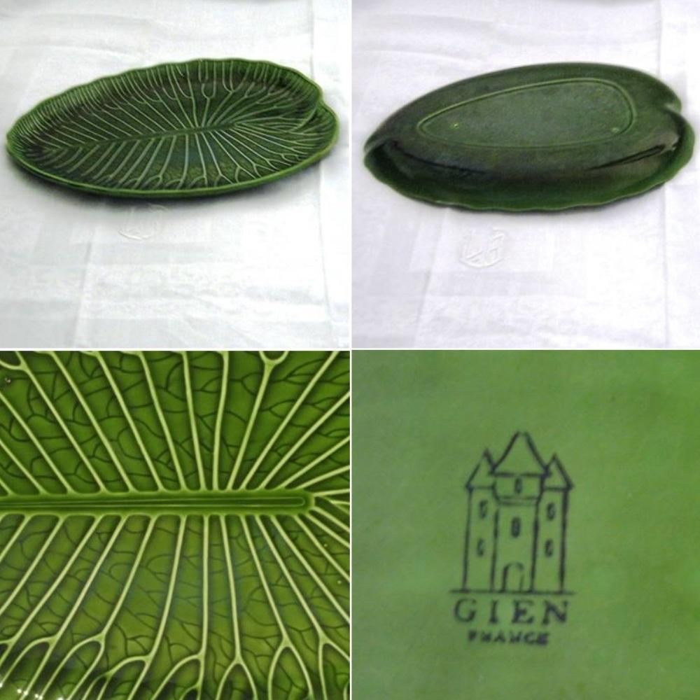 Ancien plat forme feuille verte nenuphar en barbotine gien 2