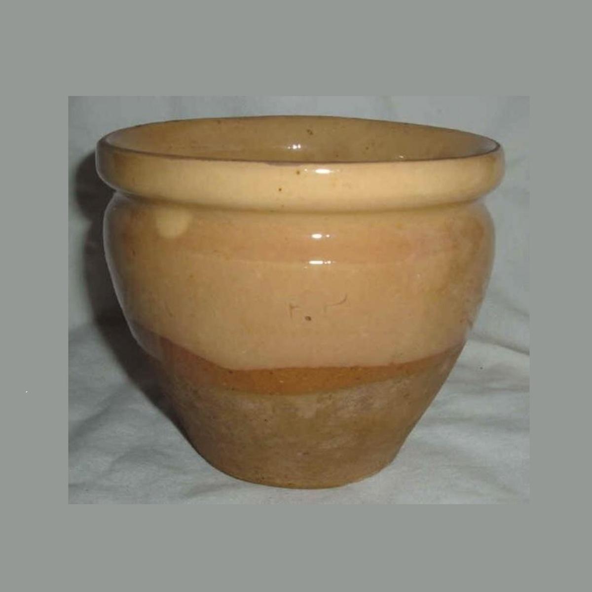 Ancien pot a confiture conique en gres vernisse jaune paille et gres brut ht 11cm 1