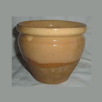 Ancien pot à confiture conique en grès vernissé jaune paille et grès brut (ht 11cm)