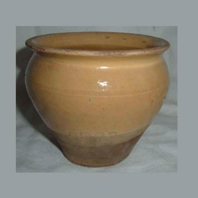 Ancien pot à confiture conique en grès vernissé jaune paille et grès brut (ht 8,5cm)