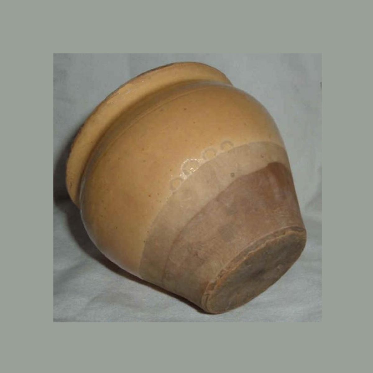 Ancien pot a confiture conique en gres vernisse jaune paille et gres brut ht 8 5cm 4