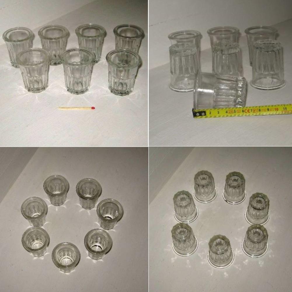 Ancien pot a confiture miniature en verre a facettes 2