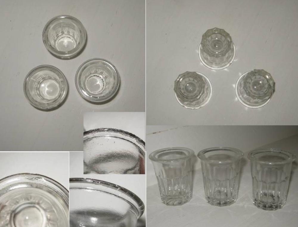 Ancien pot a confiture miniature en verre a facettes 3