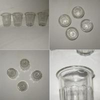 Ancien pot a confiture miniature en verre a facettes 4