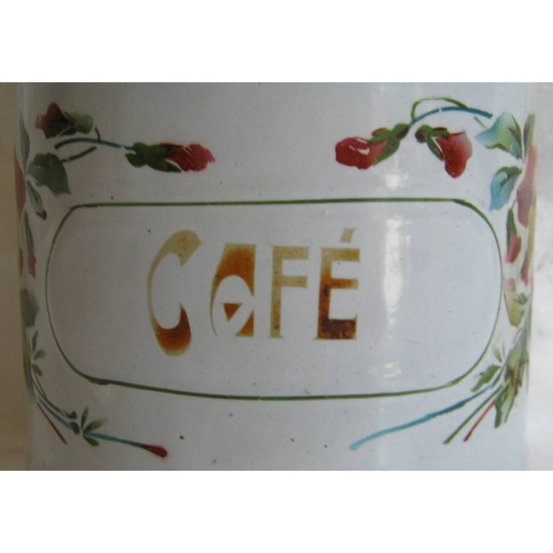 Ancien pot a epices en tole emaillee cafe decor pensees 6