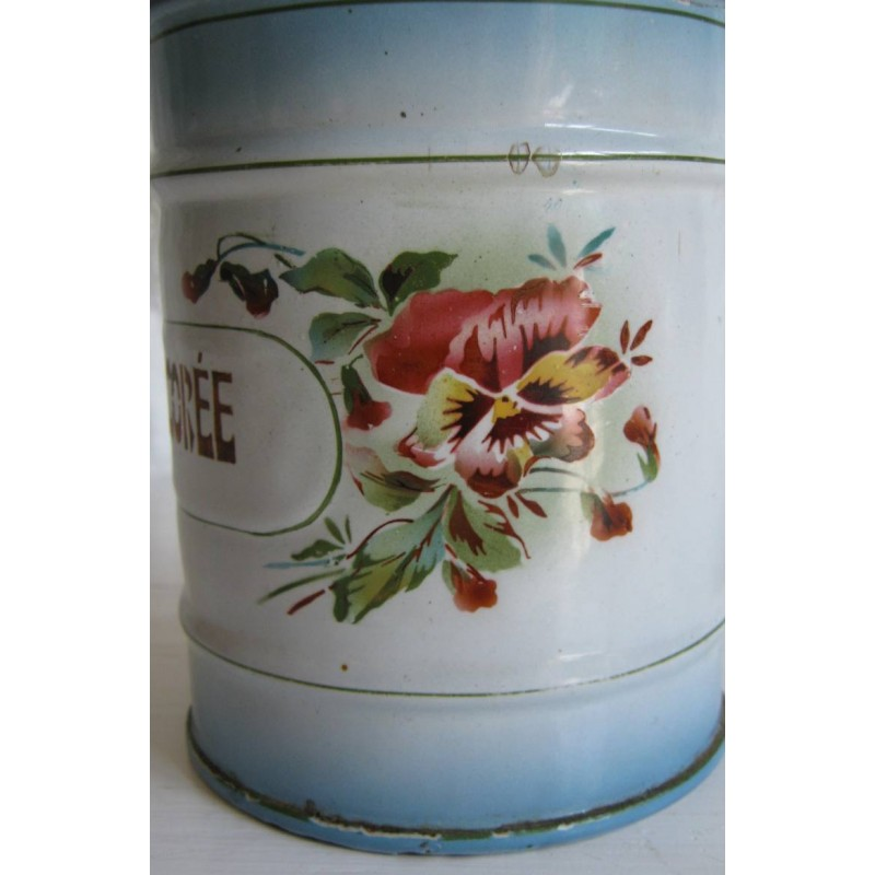 Ancien pot a epices en tole emaillee chicoree decor pensees 3