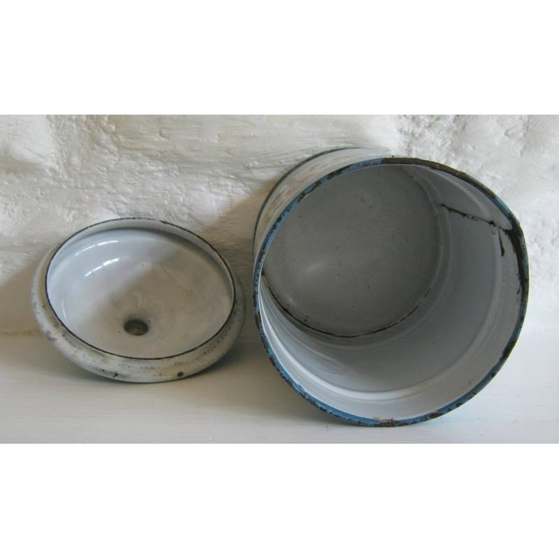 Ancien pot a epices en tole emaillee chicoree decor pensees 4
