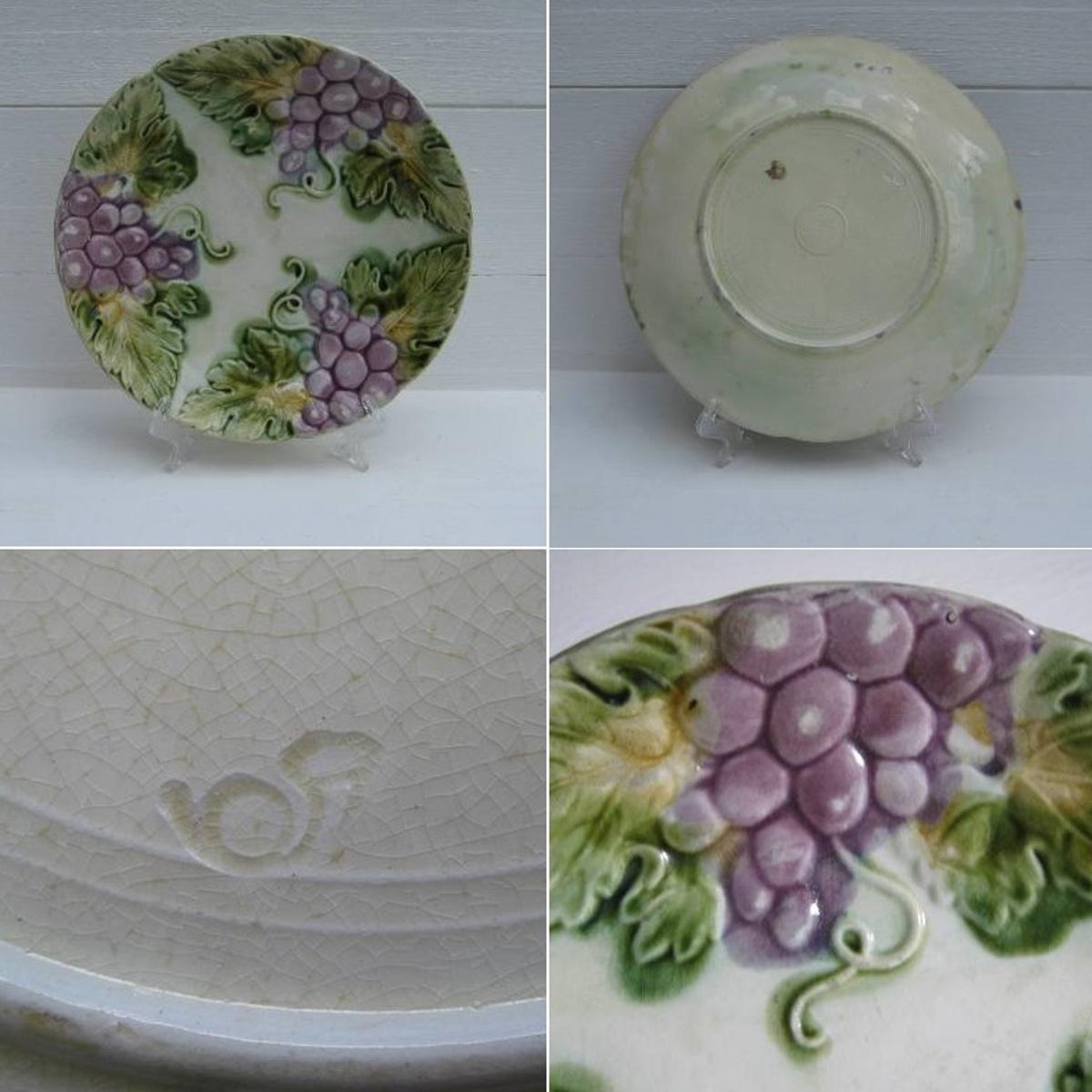 Ancienne assiette barbotine pampres de vigne 2