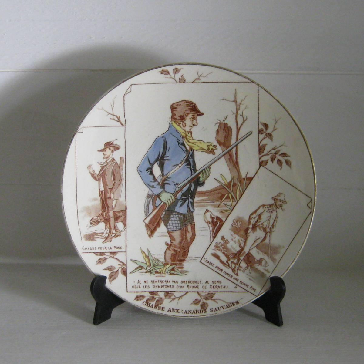 Ancienne assiette n 4 serie chasseurs uc sarreguemines 1