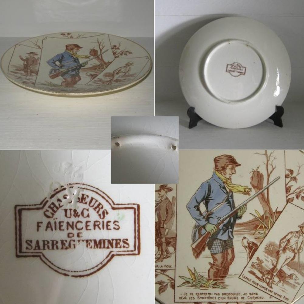 Ancienne assiette n 4 serie chasseurs uc sarreguemines 2