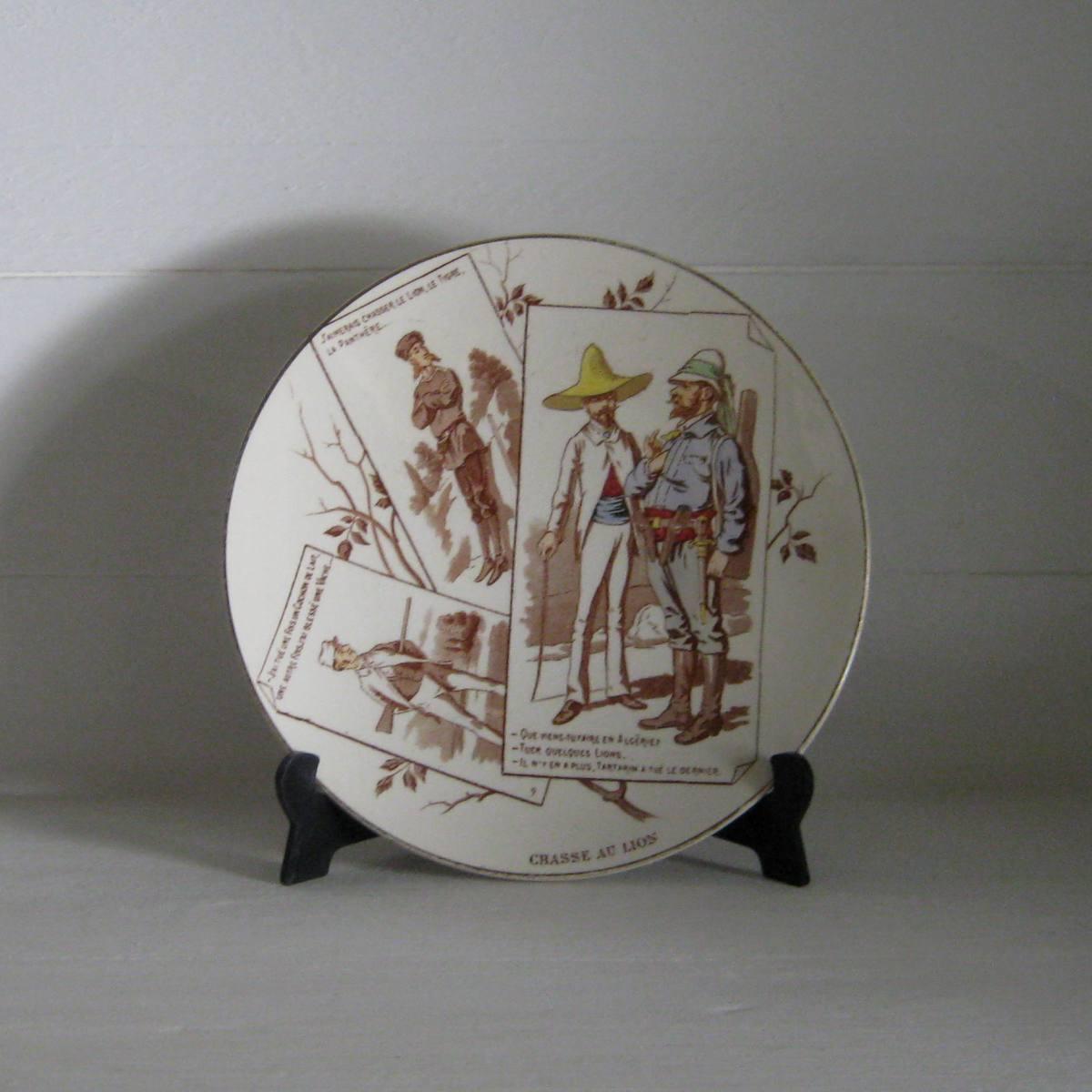 Ancienne assiette n 9 serie chasseurs uc sarreguemines 1