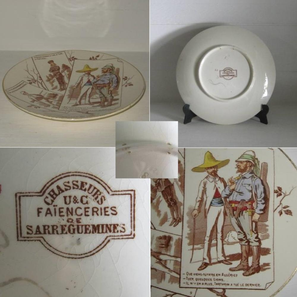 Ancienne assiette n 9 serie chasseurs uc sarreguemines 2