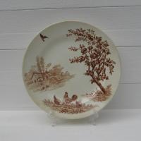 Ancienne assiette plate scene champetre samaritaine 1
