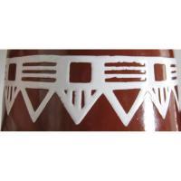 Ancienne cafetiere en tole emaillee marron a frise geometrique blanche 8