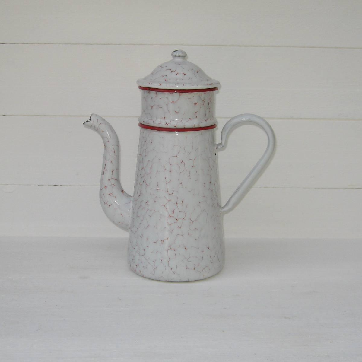Ancienne cafetiere tole emaillee marbree rouge et blanche 1