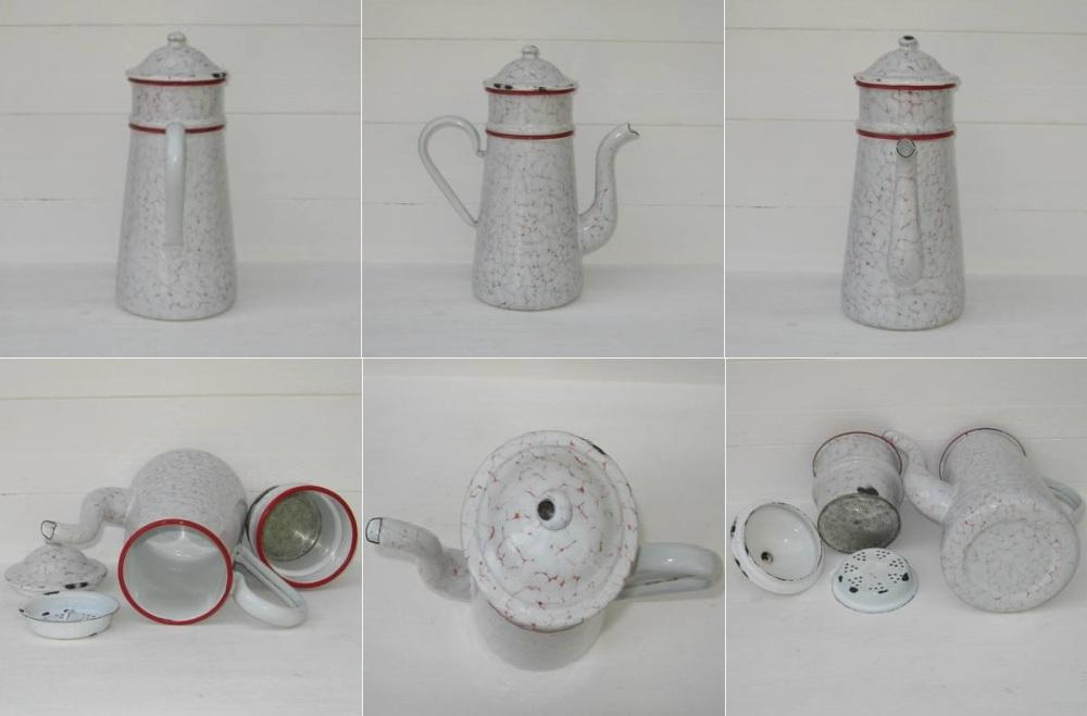 Ancienne cafetiere tole emaillee marbree rouge et blanche 2