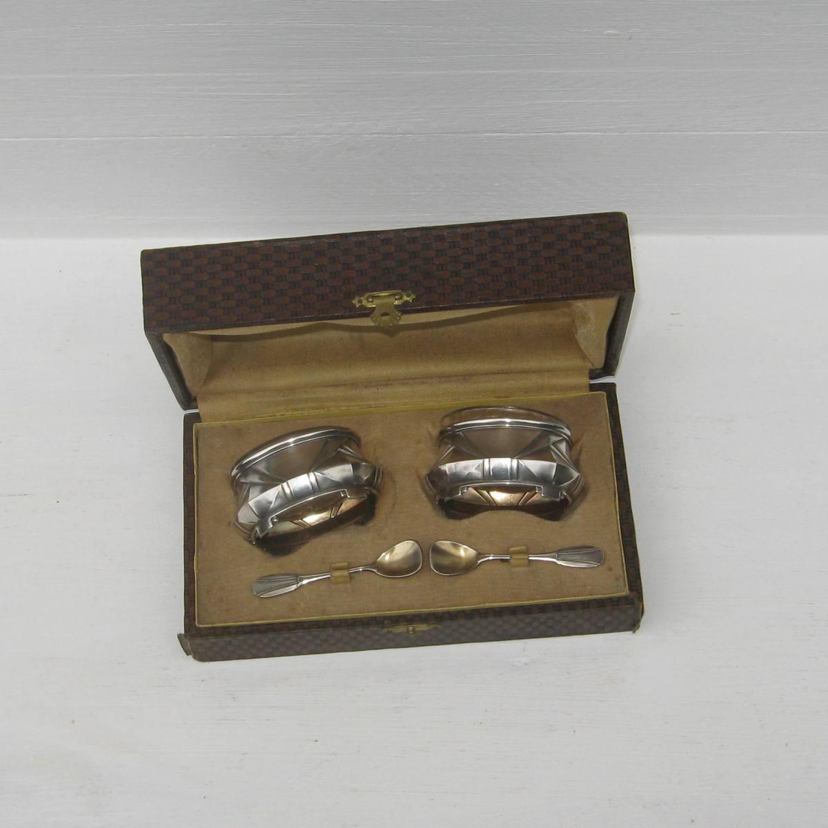 Ancienne paire de salerons art deco en metal argente 1