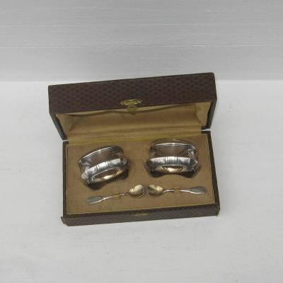 Ancienne paire de salerons art déco en métal argenté et verre