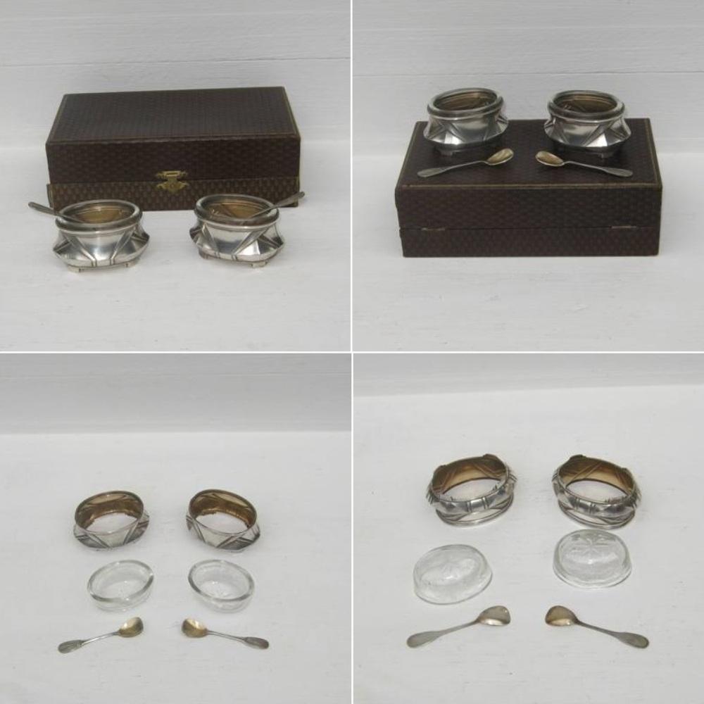 Ancienne paire de salerons art deco en metal argente 2