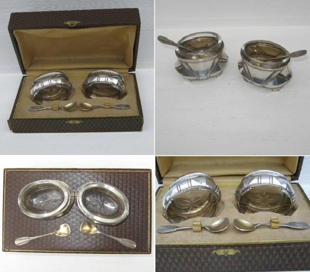 Ancienne paire de salerons art deco en metal argente 3