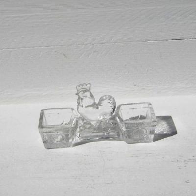 Salière poivrière en verre baquets prise coq