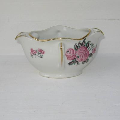 Ancienne saucière gras et maigre en porcelaine française décor aux roses