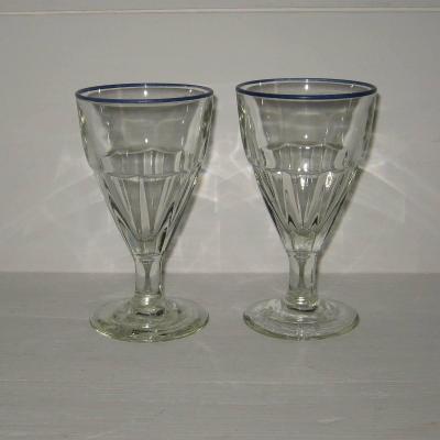 Deux anciens verres de bistrot à liseré bleu, lot 1