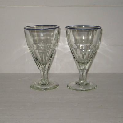 Deux anciens verres de bistrot à liseré bleu, lot 2