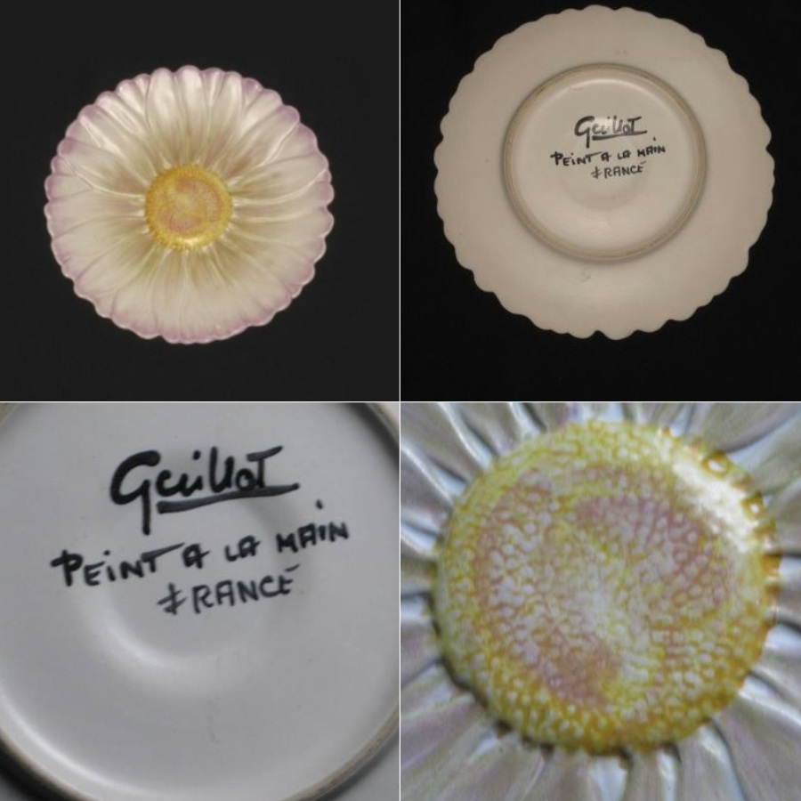 Assiette barbotine dahlia guillot 2