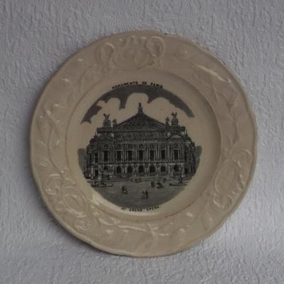 Monuments de Paris Grand Opéra N°6 assiette faïencerie d'Onnaing