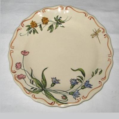 Assiette ancienne à décor botanique Aubagne signée L Sicard (2)