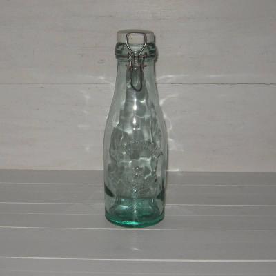 Bouteille bocal ancien en verre et porcelaine La Lorraine