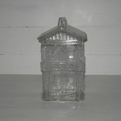 Ancien pot à biscuits en verre forme maison chalet Legras