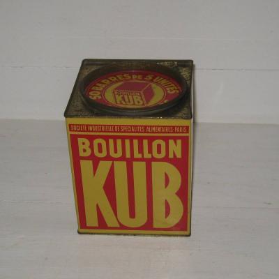 Ancienne boite publicitaire en tôle lithographiée bouillon KUB