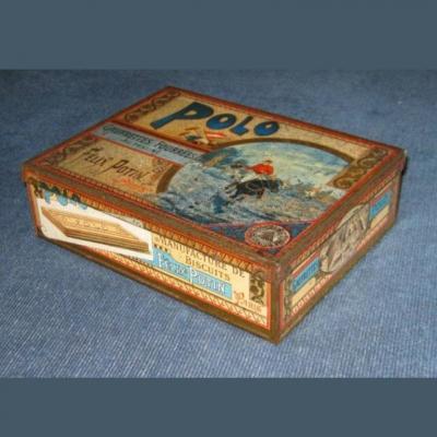 Boîte à gâteaux ancienne en tôle lithographiée Polo gaufrettes Félix Potin