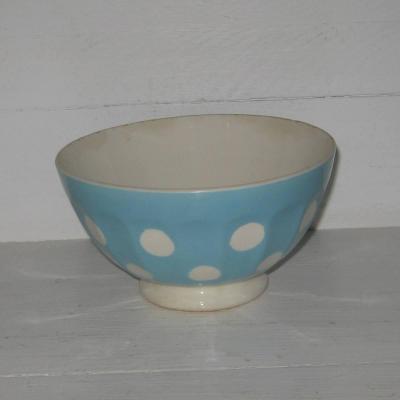 Ancien bol à côtes sur pied douche Digoin Sarreguemines bleu à pois blancs