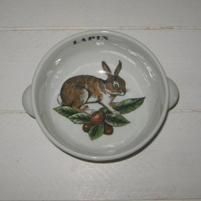 Bol en porcelaine d'Auteuil Lobjoy ligne Chasse, lapin lièvre