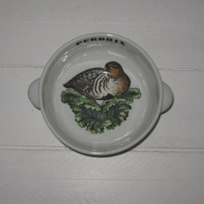 Bol en porcelaine d'Auteuil Lobjoy ligne Chasse, perdrix