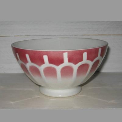 Ancien bol avec frise rose foncé